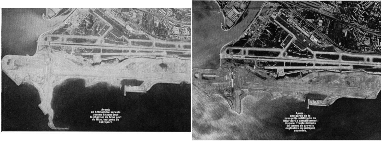 Aéroport de Nice Côte d'Azur-Photographie aérienne avant et après la catastrophe du 16 Octobre 1979